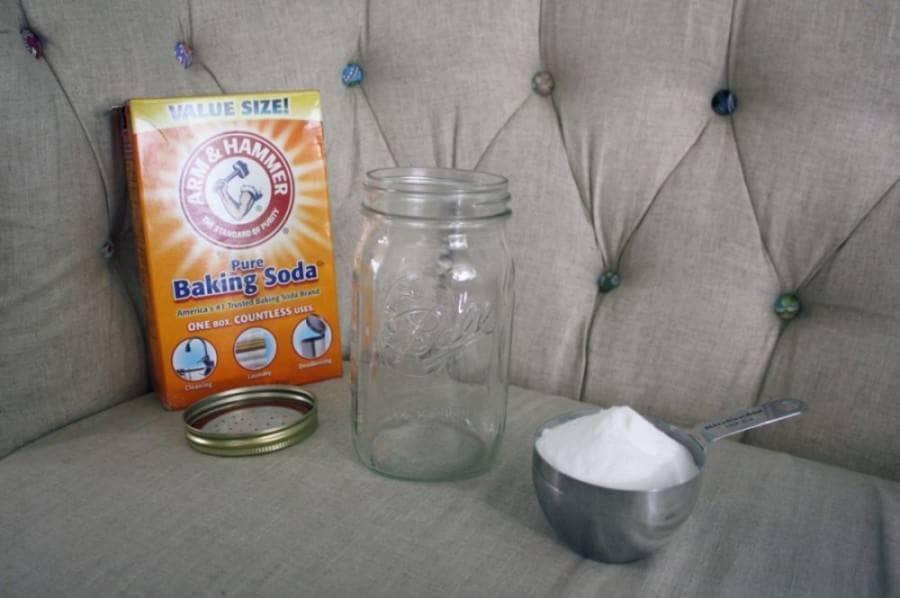 homemade air freshener adding in baking soda
