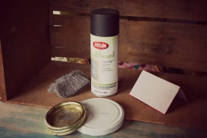 diy chalkboard lids ingredients