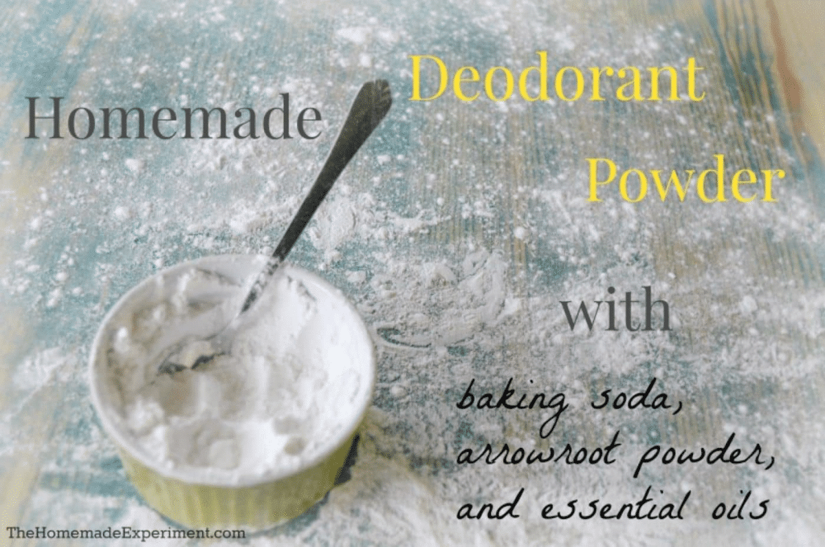 Homemade Deodorant powder with baking soda, arrowroot powder and essential oils