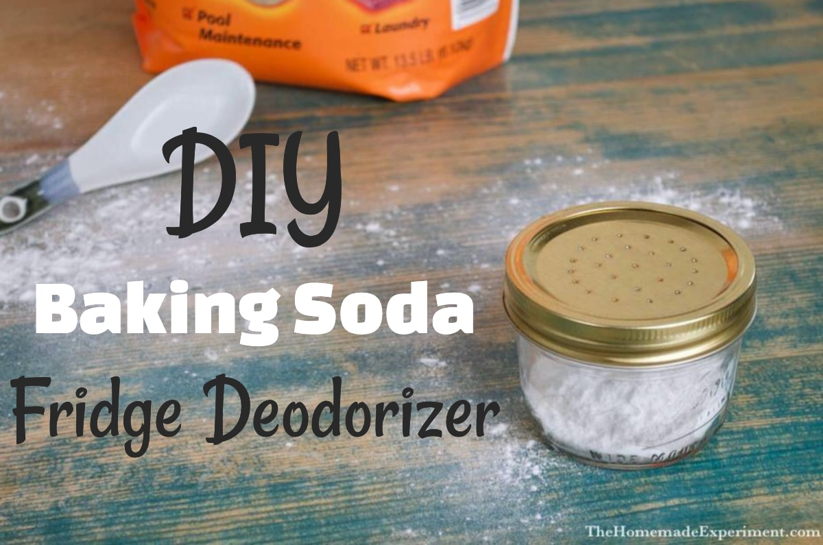 Photo of diy baking soda fridge deodorizer and ingredients.