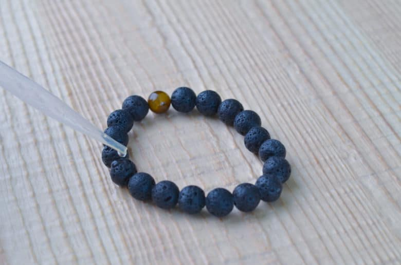 Apply essential oils to the diffuser bracelet